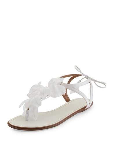 X3HMT Aquazzura Flora Petal Embellished Flat Bridal Sandal White