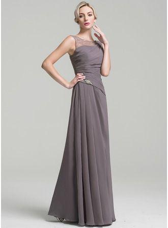 Photo of [€ 46.00] Scoop Floor-Length Chiffon Bride Dress …