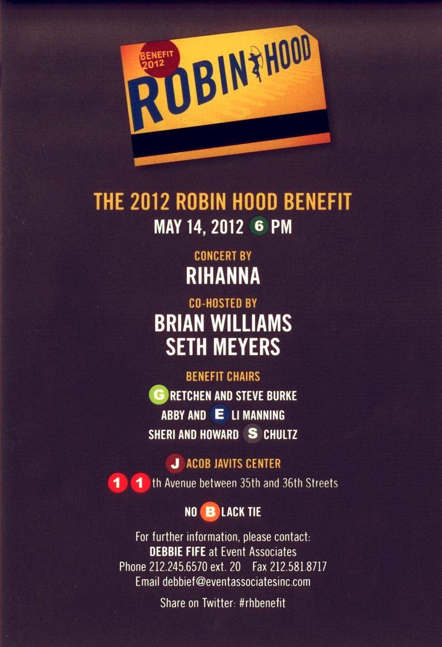 Robin Hood Foundation Benefit Invite   Robin hood, Steve burke ...