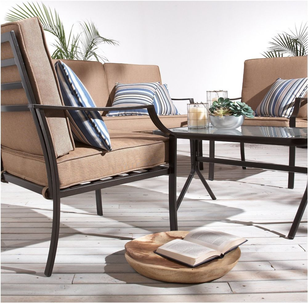 strathwood 4 piece patio furniture set outdoor steel sofa table garden balcony strathwood