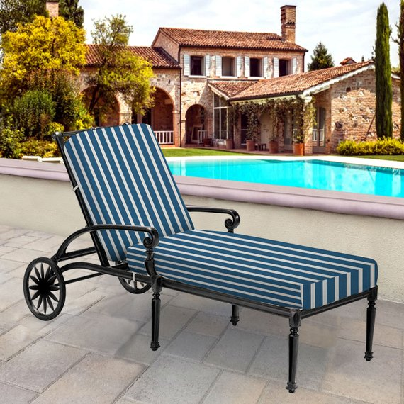 Outdoor Cushion Denim Blue White Seat And Back Cushion Set