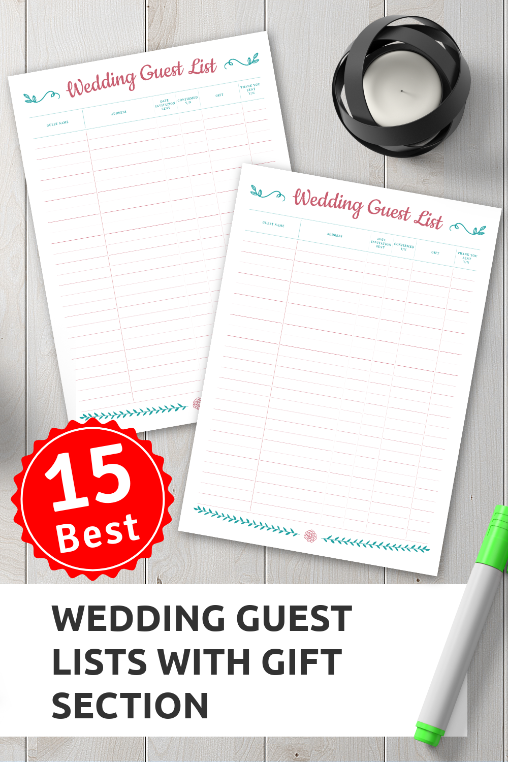 Wedding Guest List with Gift Section Wedding guest list