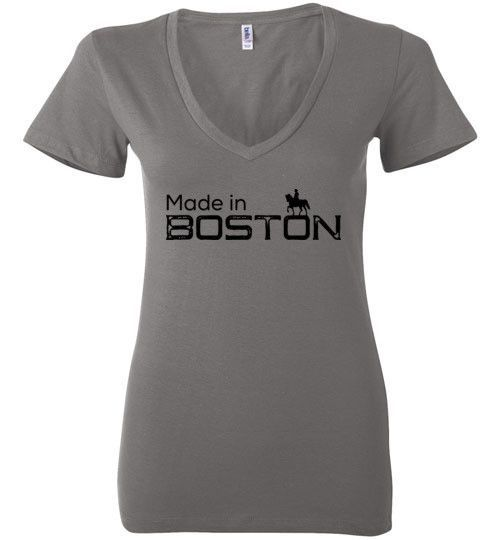 Made in Boston (Ladies Deep V-Neck T-Shirt) | City Phrases