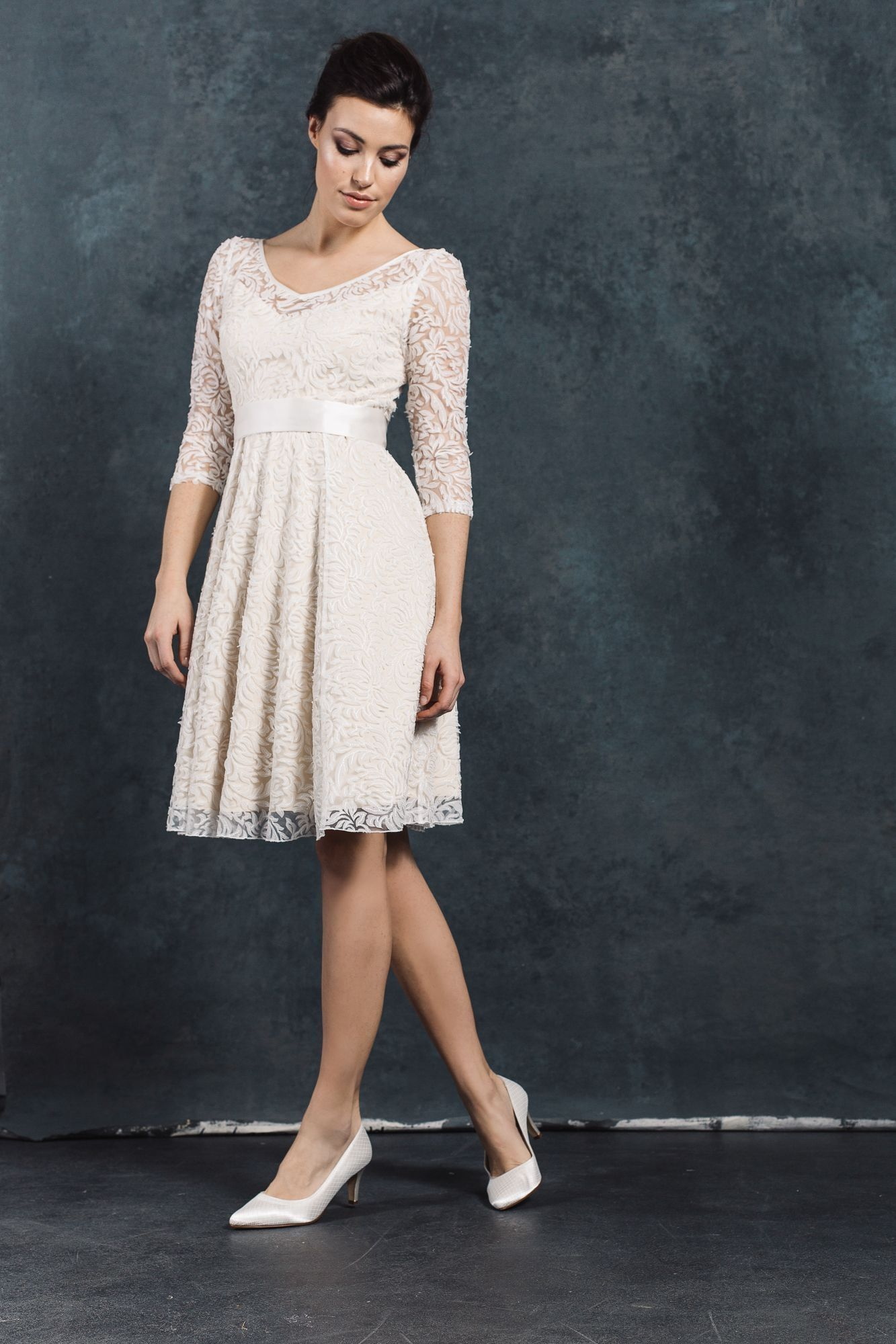 Labude Cologne Wedding Dress Short Wedding Dress June With Lace In Wedding Dress Registry Office With Sleeves Dengan Gambar