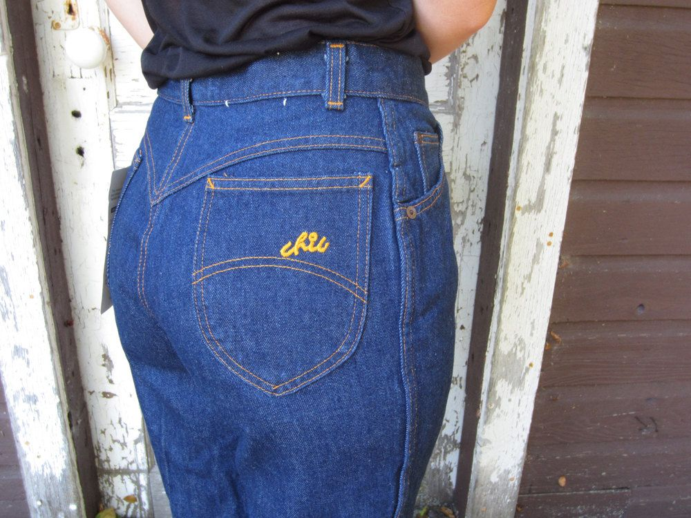 1970 S 80 S Chic Jeans Dead Stock Straight Leg Denim High