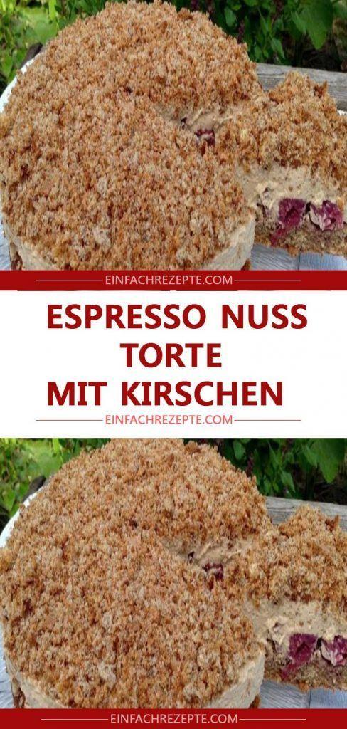ESPRESSO NUSS TORTE MIT KIRSCHEN