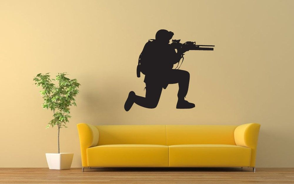 COOL Military Soldier Army Men Graphic Art wall decals stickers home ...