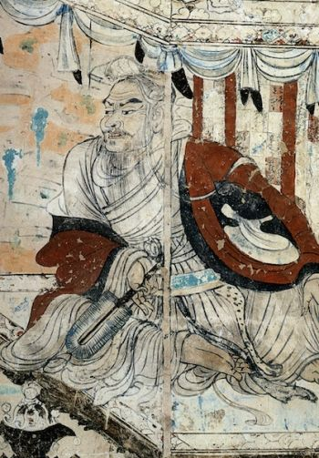 Vimalakirti, Dunhuang. 8th century, wall painting. From commons.wikimedia.org