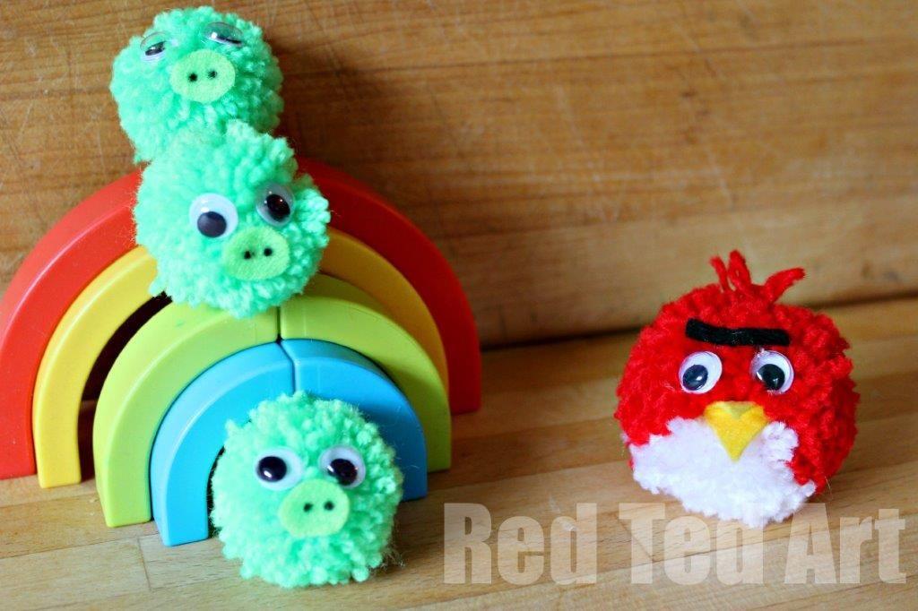 Pompom Crafts Angry Birds Pom Pom Crafts Crafts Crafts For Kids