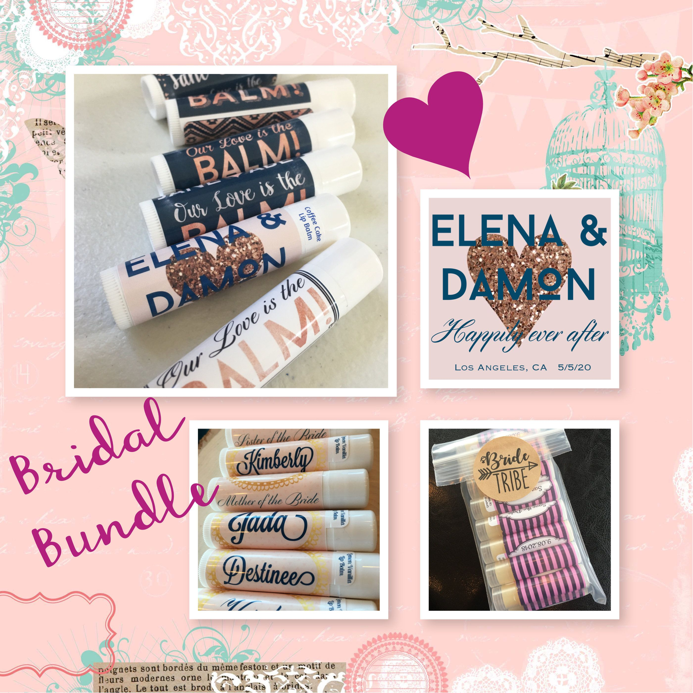 Wedding Bundle Lip Balm Favors And Bridesmaid Gift Wedding Lip