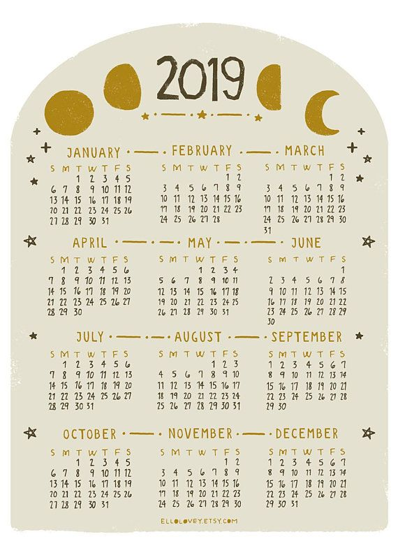 2019 MINI Moon Calendar | calendarios | Moon calendar ...