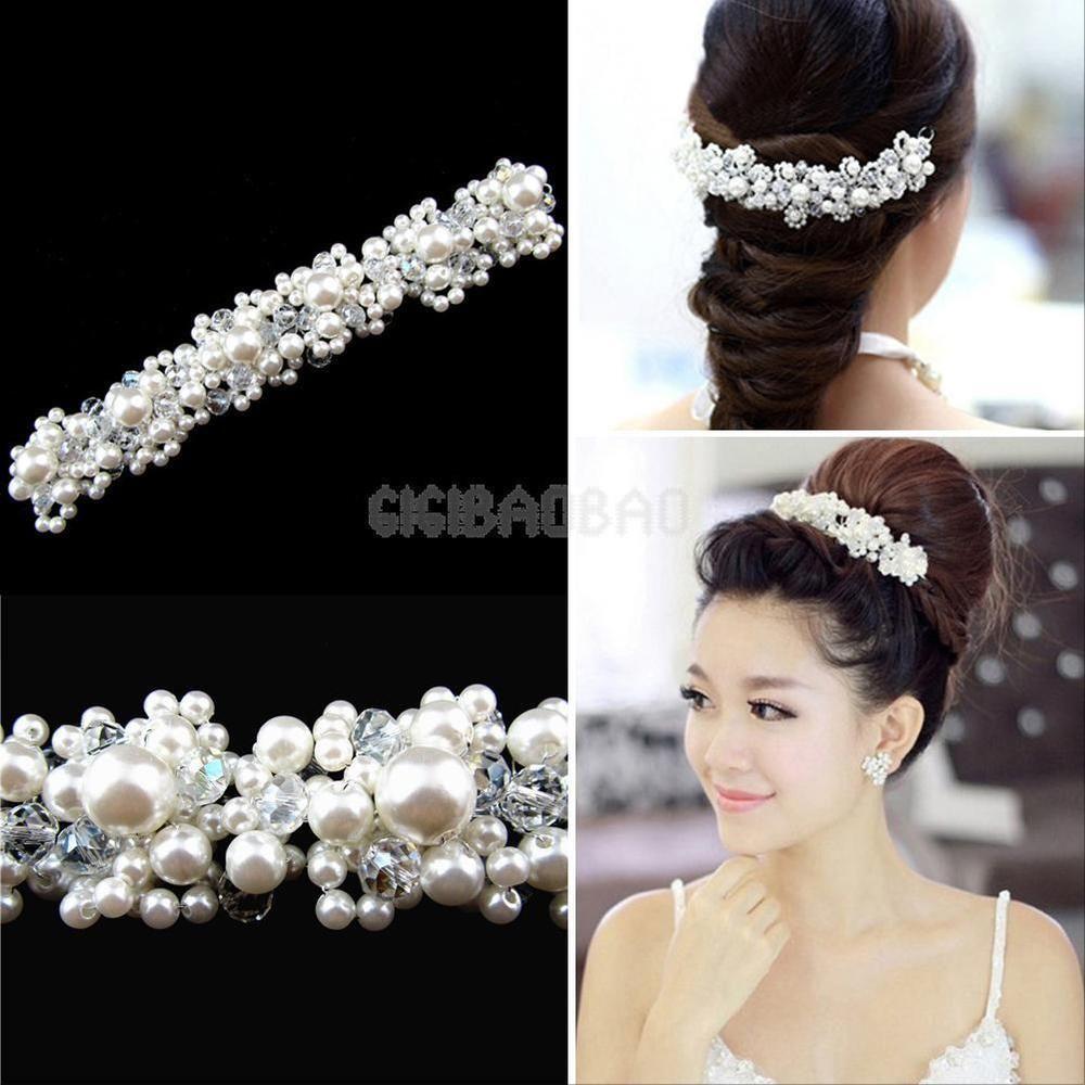 details about crystal rhinestone pearl wedding bridal prom headband