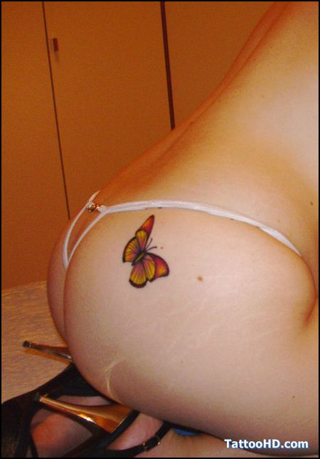 Butterfly tattoo on the butt designer unknown see www for Tattoos on your butt