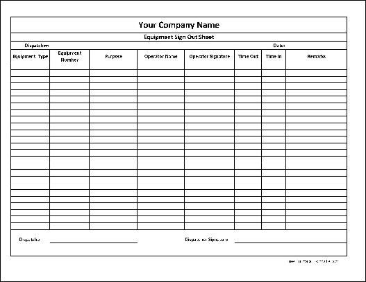 Here Is A Preview Of The Personalized Equipment Sign Out Sheet