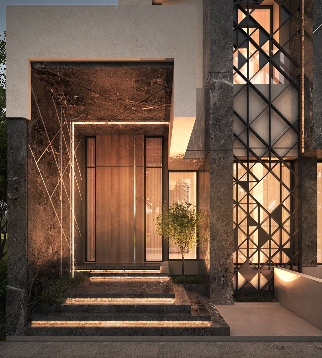 Main entrance private villa kuwait 500 m sarah for Modern main door design
