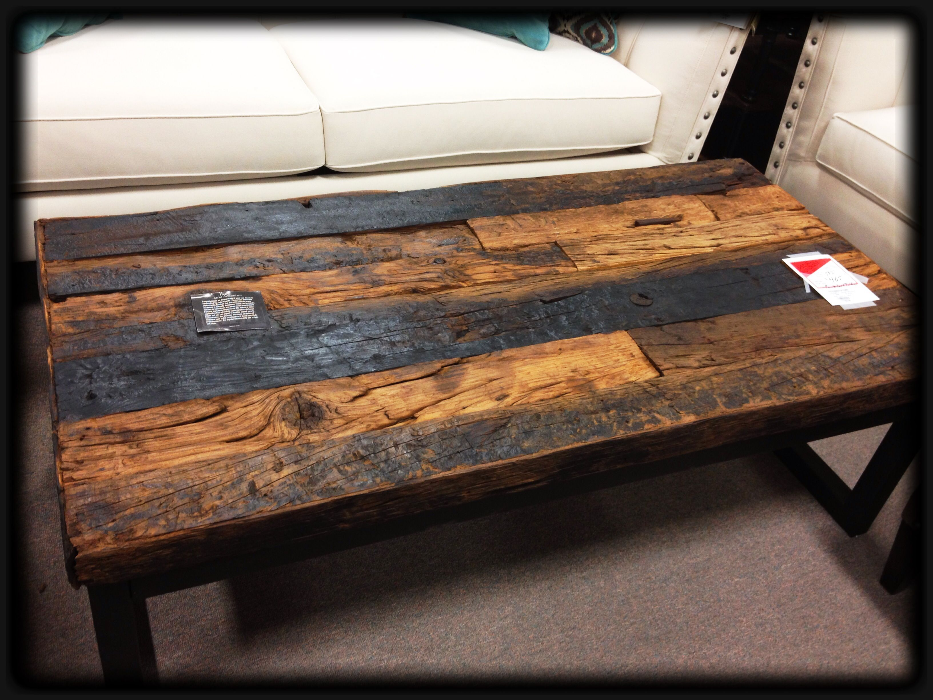 railroad ties as coffee table top