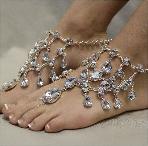 CRYSTAL barefoot sandals silver Beach wedding barefoot sandals