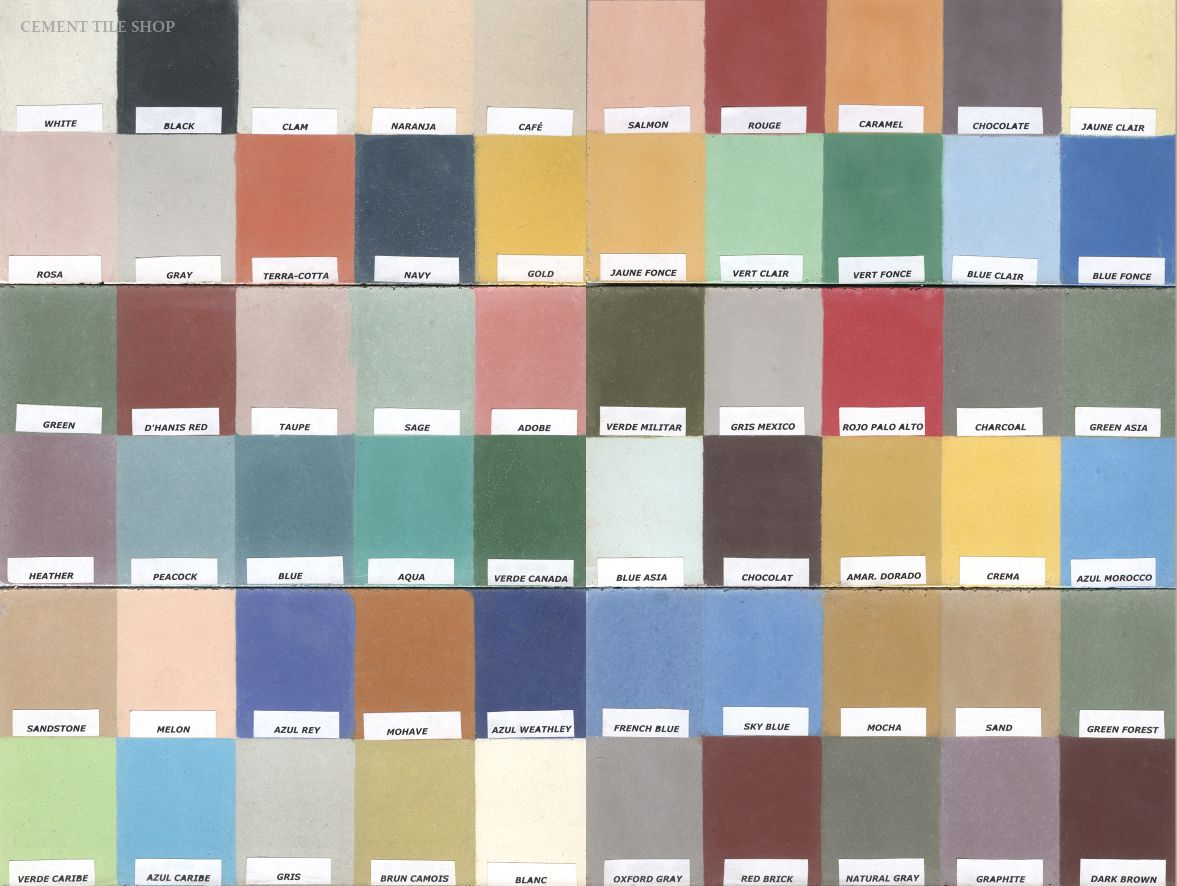 From the cement tile shop, here are all the color choices. Hex tile ...