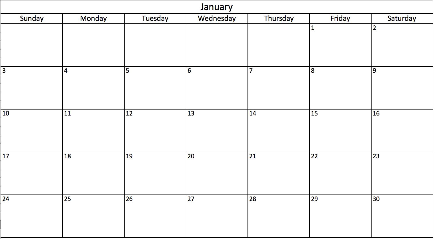 Blank Calendar In Excel  Schedule    Template
