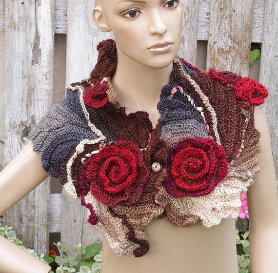 Crochet Scarf Roses Capelet Neck Warmer Freeform crochet Cowl ...