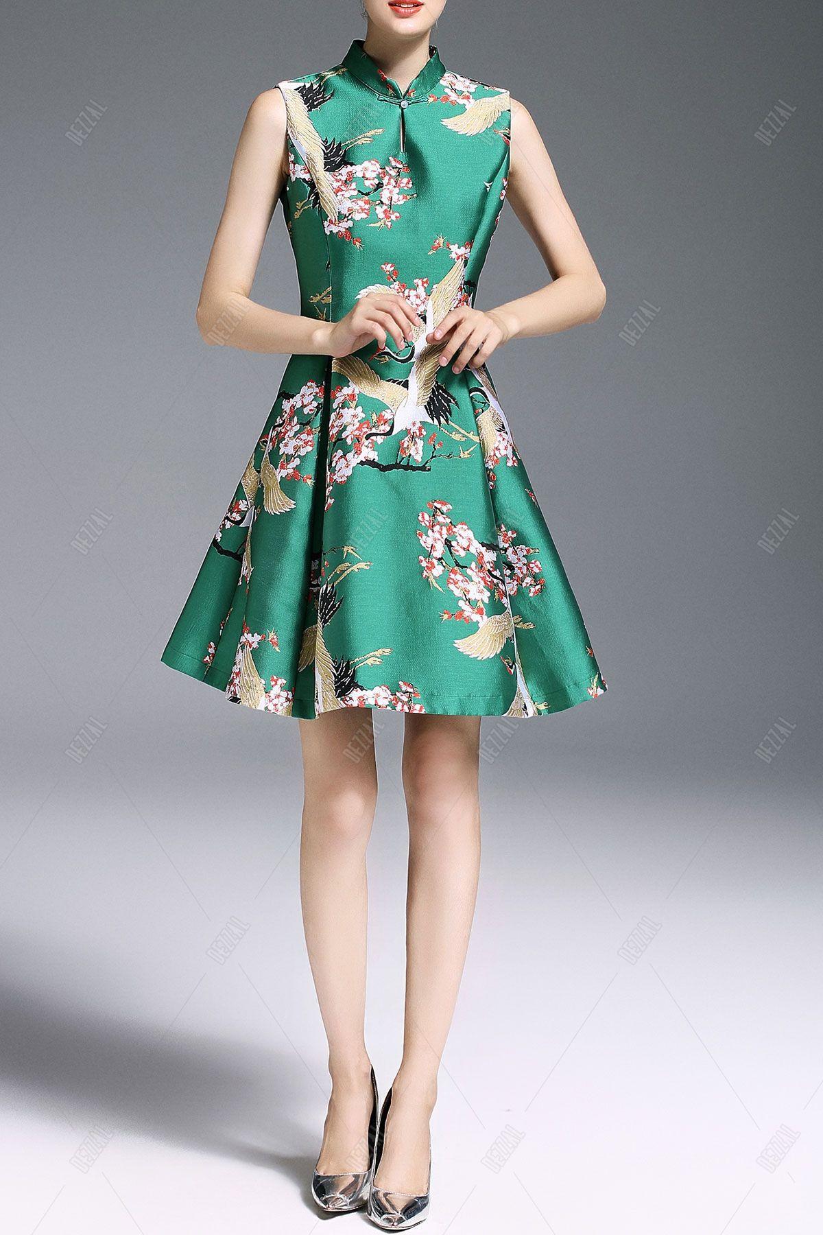 Mandarin collar flannel  Mandarin Collar Print A Line Dress  My Style  Pinterest  Mandarin