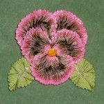 Ruched Ribbon Pansy NEW with French Picot Ombre Leaves