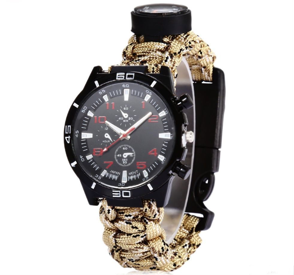 Paracord Watch - MultiFunction Compass Flint Thermometer