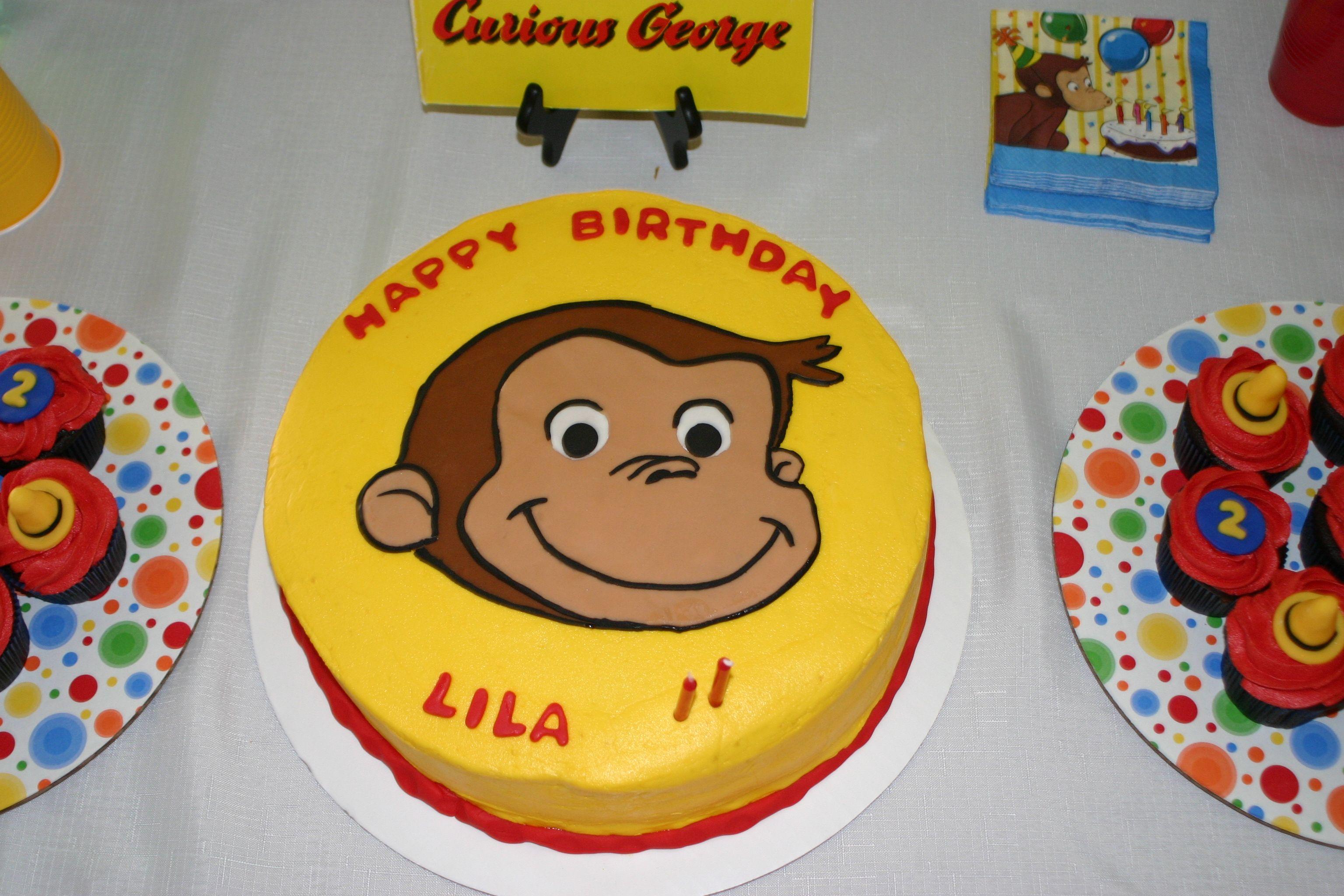 Curious George birthday cake homemade, buttercream icing ...