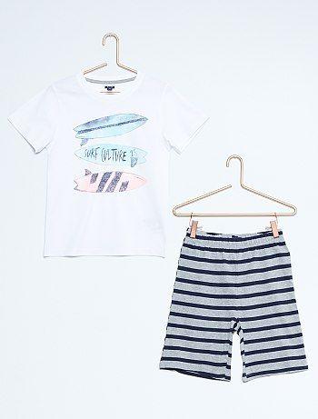 Pijama corto con estampado surfero                                                                                         blanco/gris Chico