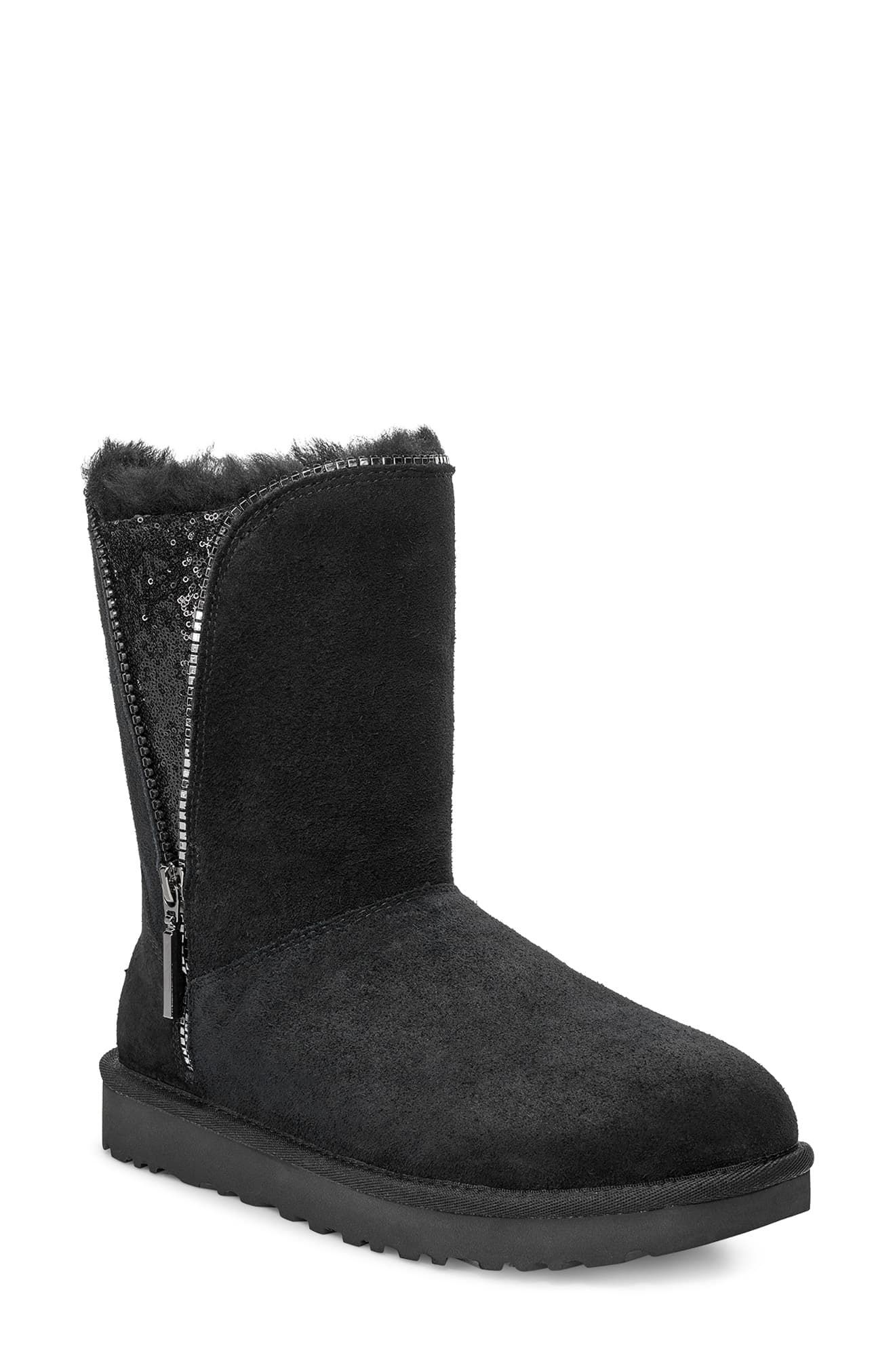 UGG Classic Sequin Ankle Height Flat Lined Boot In Black
