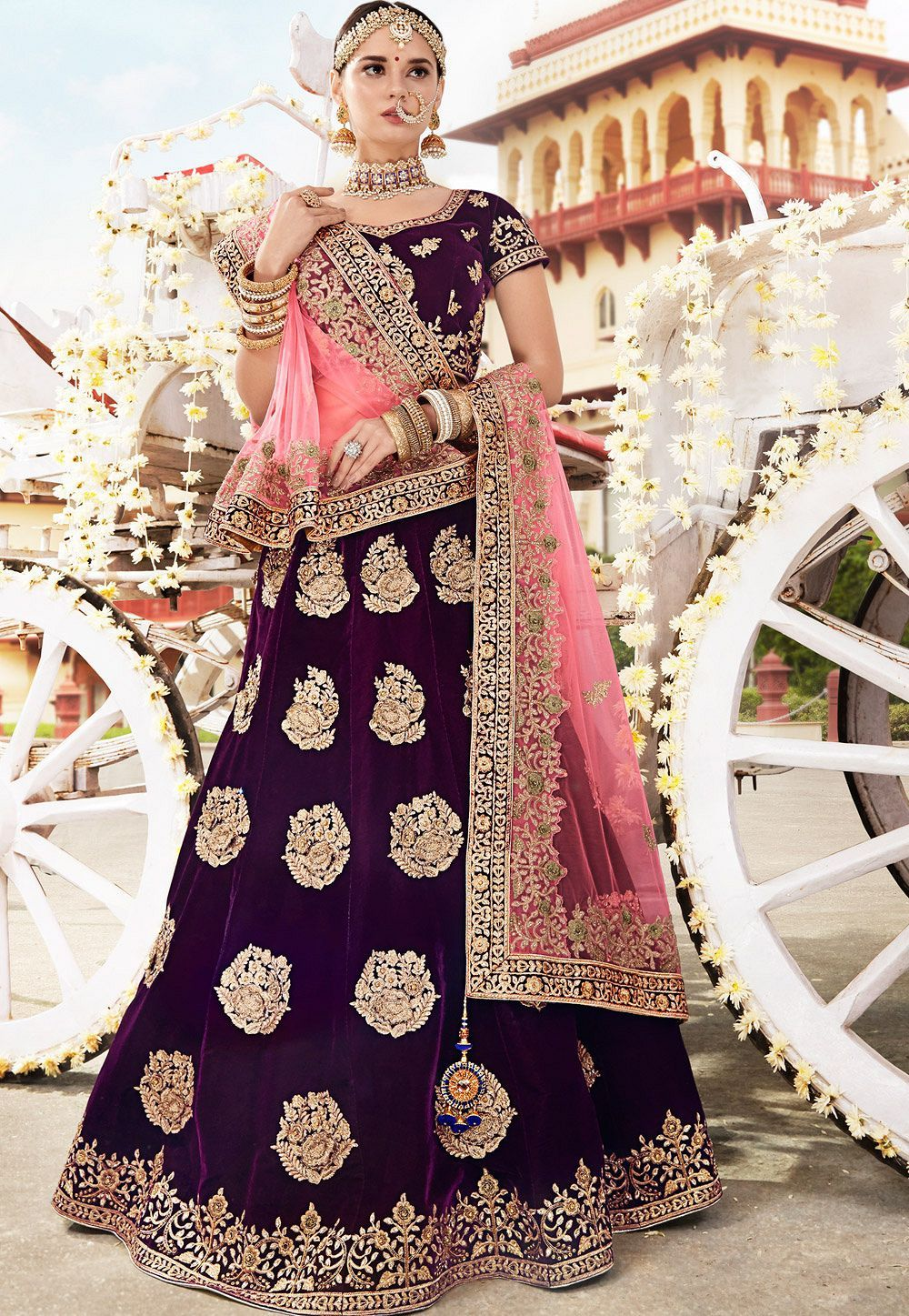 c0610f374995 Buy Wine velvet Indian wedding lehenga in UK, USA and Canada in 2019 ...