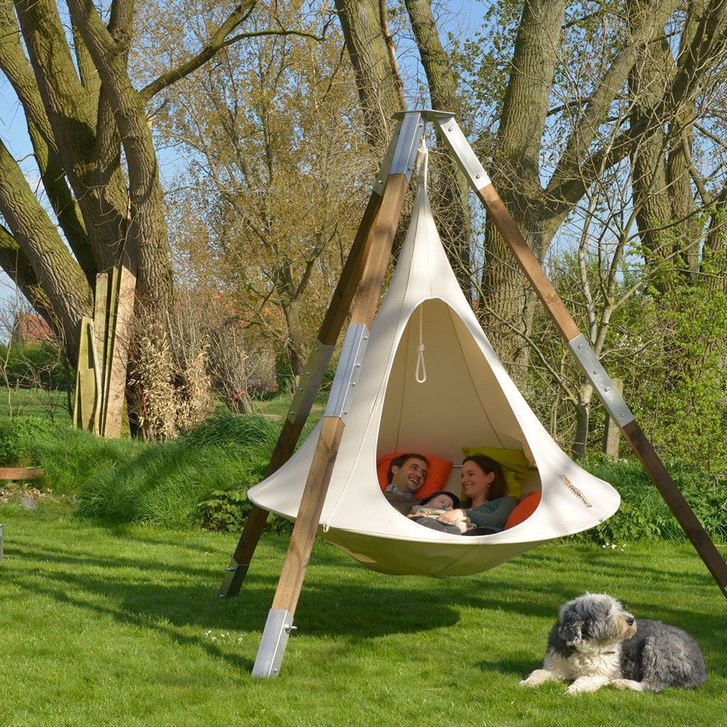 Double cacoon hammock natural white tripod pup and natural