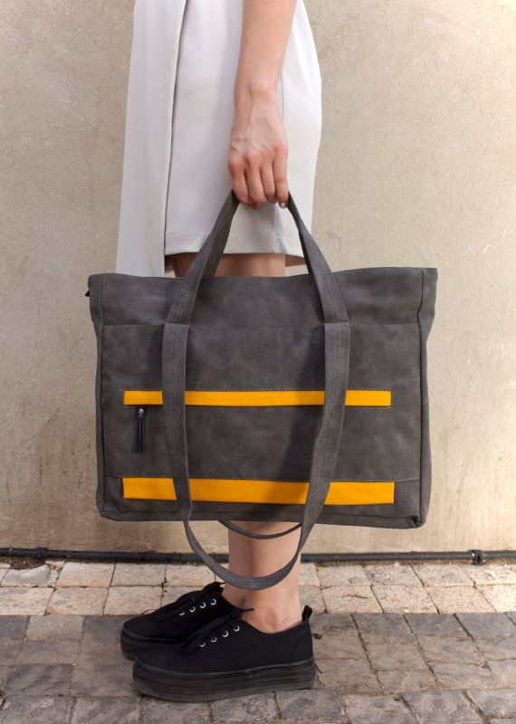 Grey Tote Bag Vegan Shoulder Handbag Women Everyday Laptop Bags For 15 Inch Designer