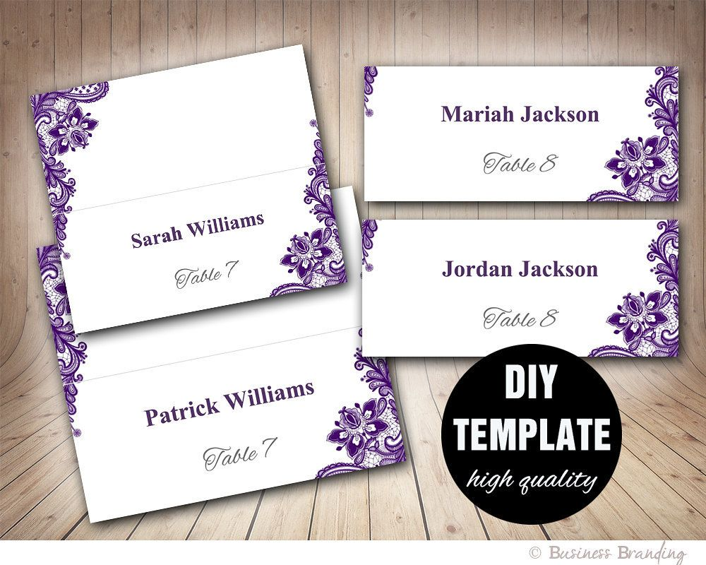 Wedding Placecard Template Foldover, DIY Purple Place cards,Instant ...