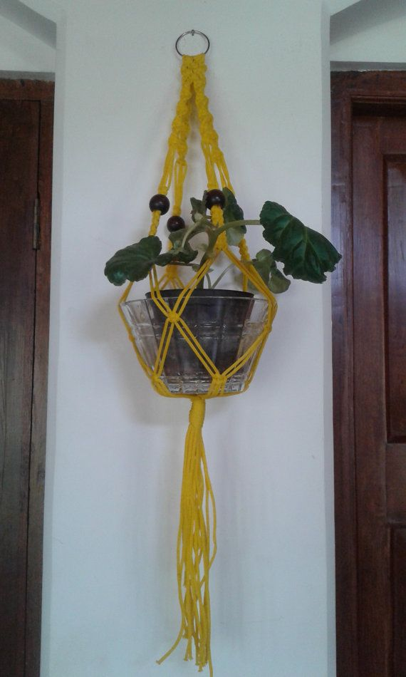 20% OFF small macrame plant hanger33 polycord by handwovenwithlove