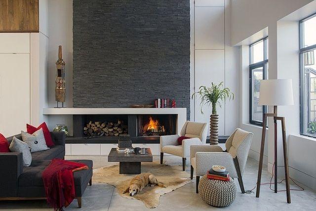 wohnzimmer schiefer kaminverkleidung grautöne möbel living room