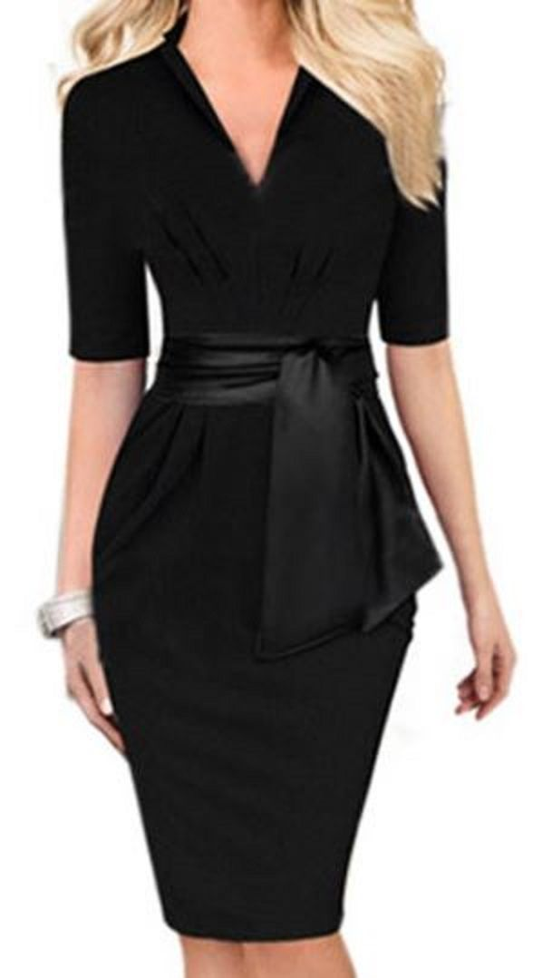 a6ff581f7f Love Love LOVE this Dress! Clean and Simple Lines! Sexy Black V-Neck  Self-Tie Bodycon Midi Dress