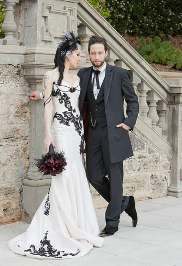 d4f6c08cfda Incredible Victorian Gothic mermaid-style corset wedding gown. Such a  pretty and unique dress!