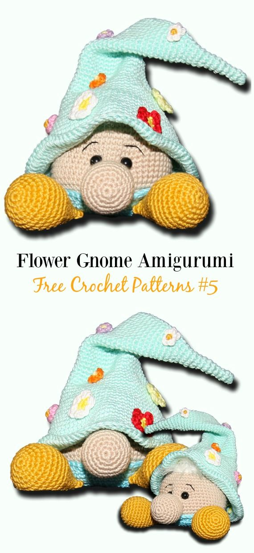 Free Amigurumi Gnome Toy Softies Crochet Patterns #crochetdolls