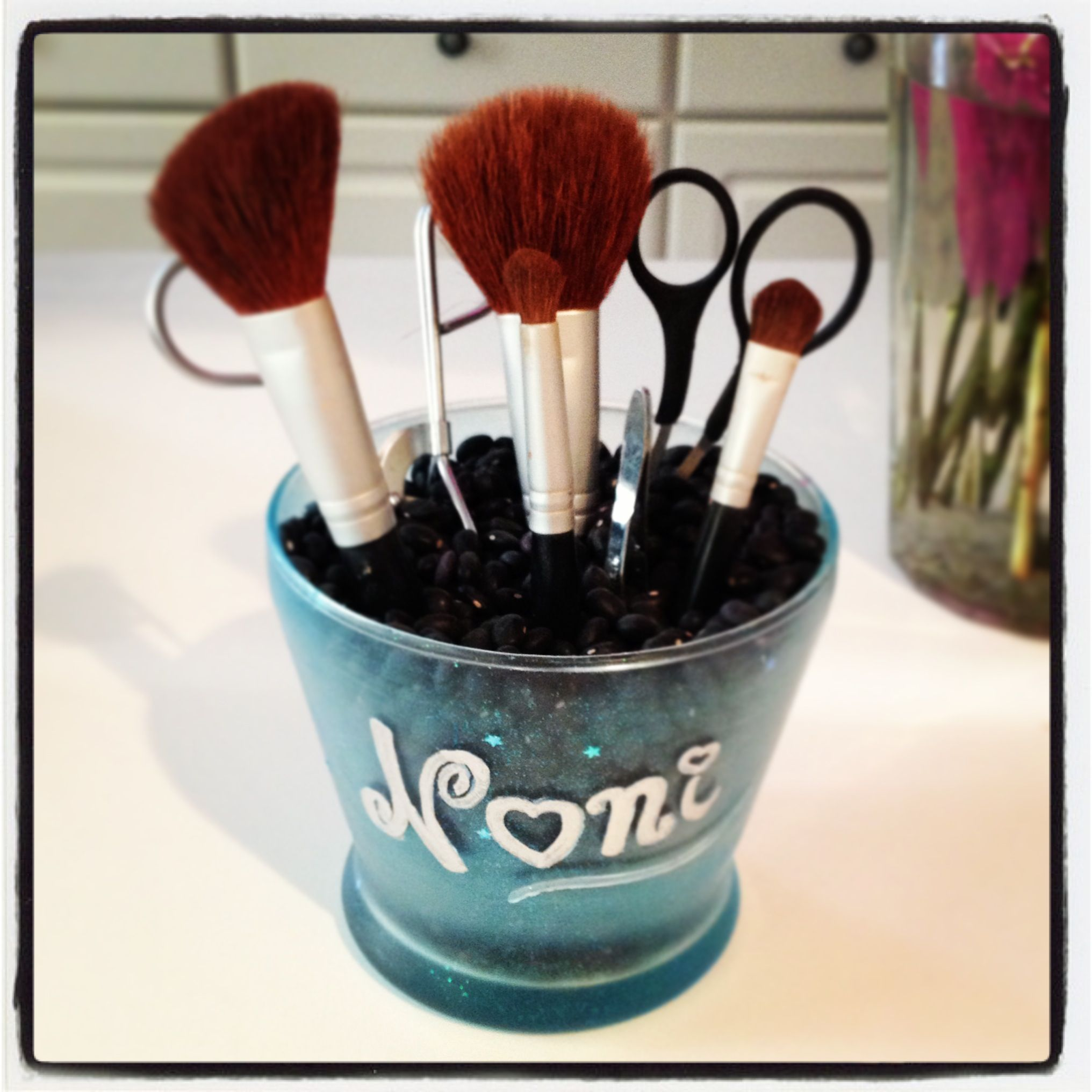 Makeup brush holder 1 candle holder, Sea glass effect