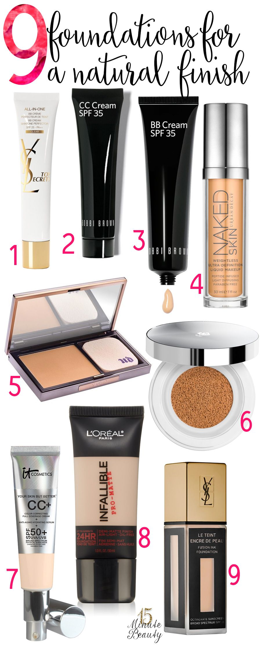 My Top 9 Foundations and BB Creams via @15 Minute Beauty