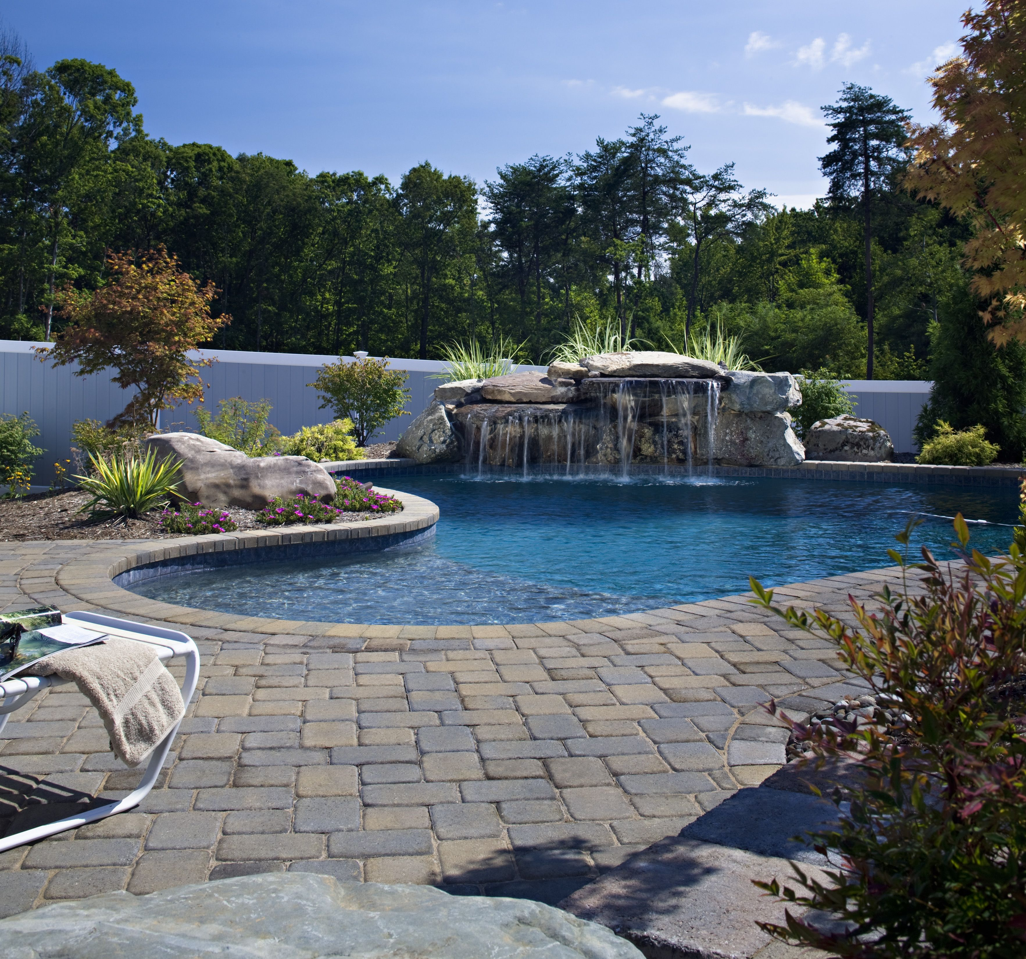 Natural Stone Pool Deck Paver Pool Deck Patterned Edging Natural Stone Waterfall And