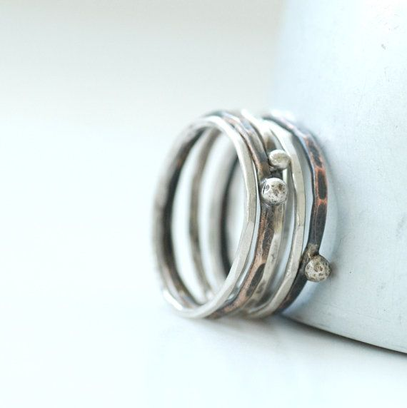 Mixed+Metal+Rings+Metalwork+Rings+Silver+by+WildWomanJewelry,+$78.00