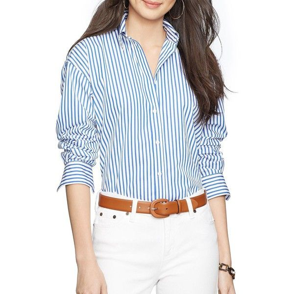 0e9fb1f18fd57d Lauren Ralph Lauren Striped Convertible Wrap Shirt ( 27) ❤ liked on Polyvore  featuring intimates