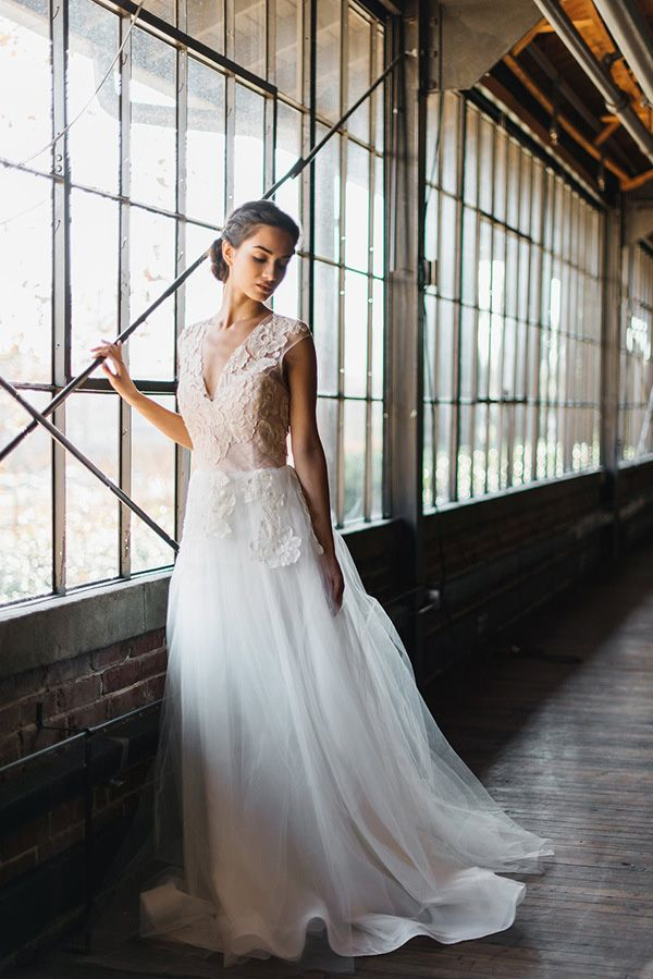 Dreamy Lace Wedding Dress In An Warehouse Rustic White Photography Winter Blush