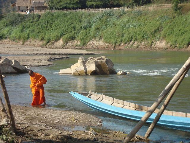 Buddhist Monk Laos River Bading