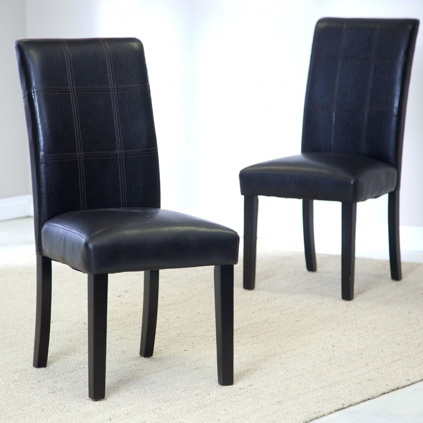 55 Navy Blue Leather Dining Chairs Vintage Modern Furniture Check