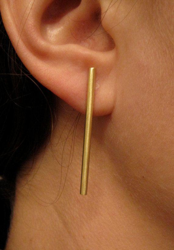 boucle d'oreille baton argent