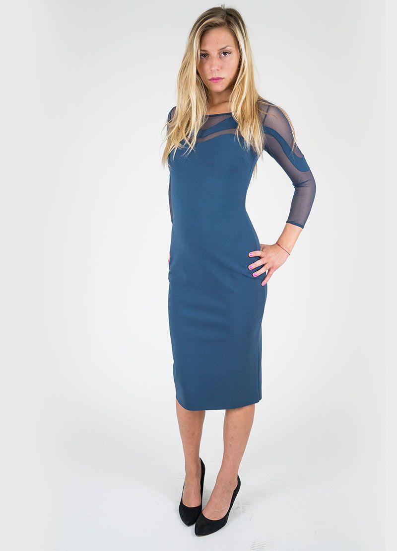 Colore: blu artico Abito tubino in tessuto jersey strech e tulle elasticizzato…