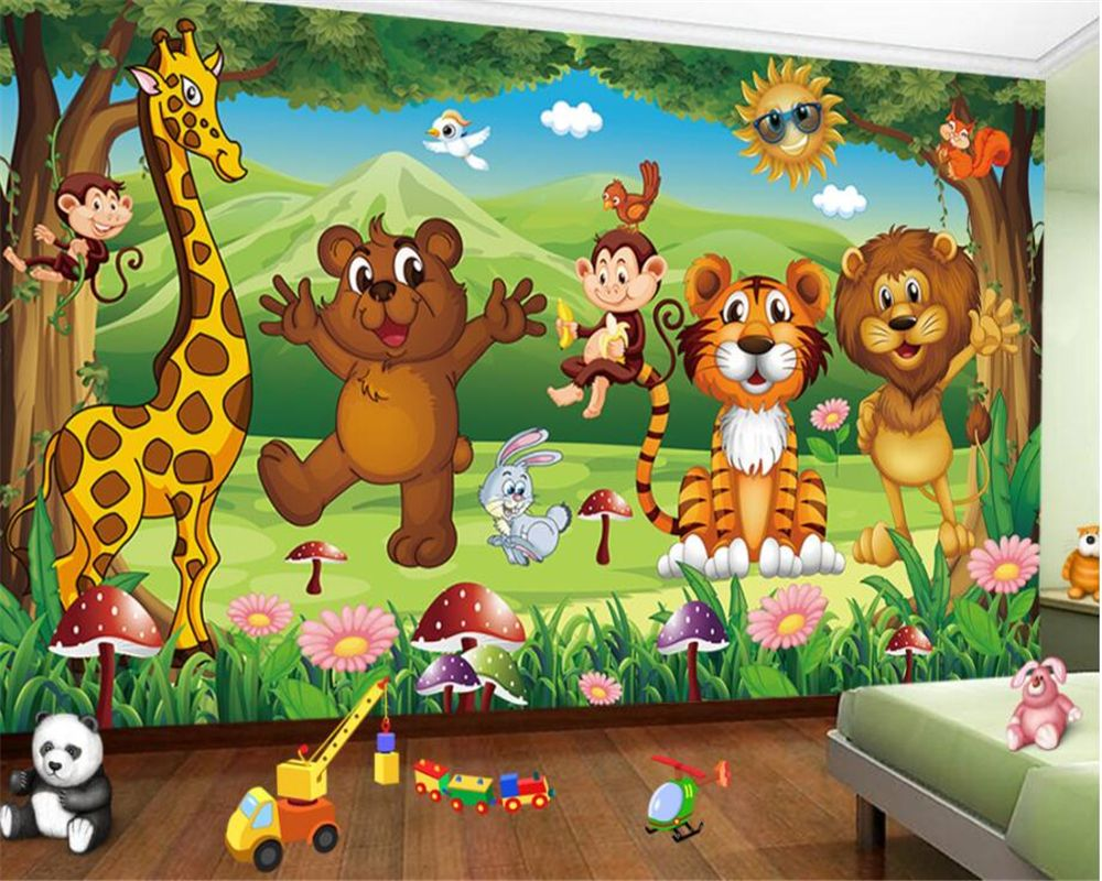 Beibehang Children Room Decoration 3d Wallpaper Cartoon Giraffe Tiger Animal Kingdom Photo 3dmural Papel De Par Mural Wallpaper Kids Room Wallpaper Photo Mural